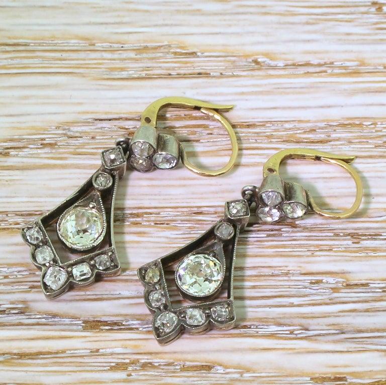 Old Mine Cut Victorian 2.64 Carat Old Cut Diamond Drop Earrings For Sale