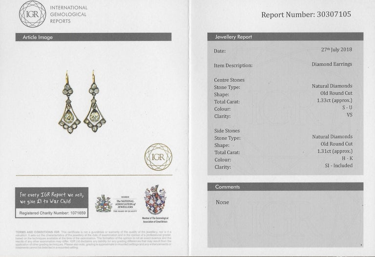 Victorian 2.64 Carat Old Cut Diamond Drop Earrings For Sale 1