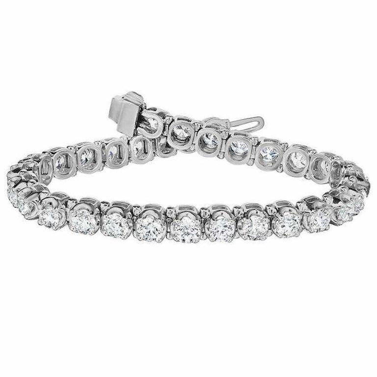 12.5 Carat Platinum White Diamond Tennis Bracelet