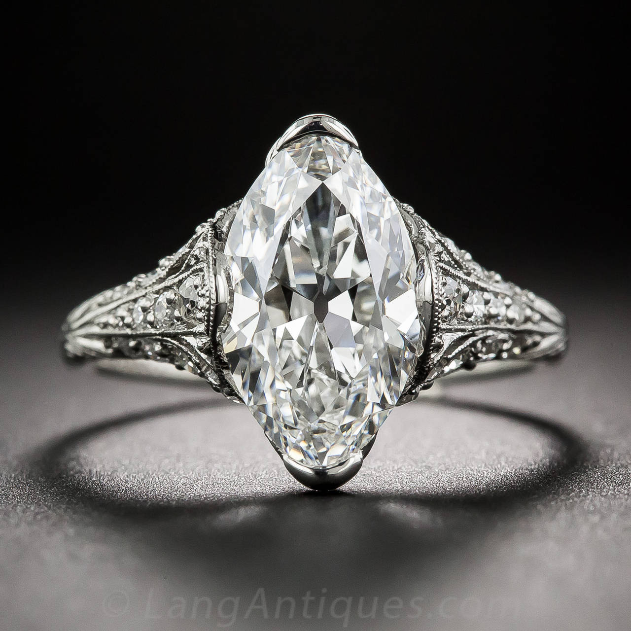 Tiffany & Co. Edwardian 3.14 Carat Marquise Diamond Platinum Ring 2
