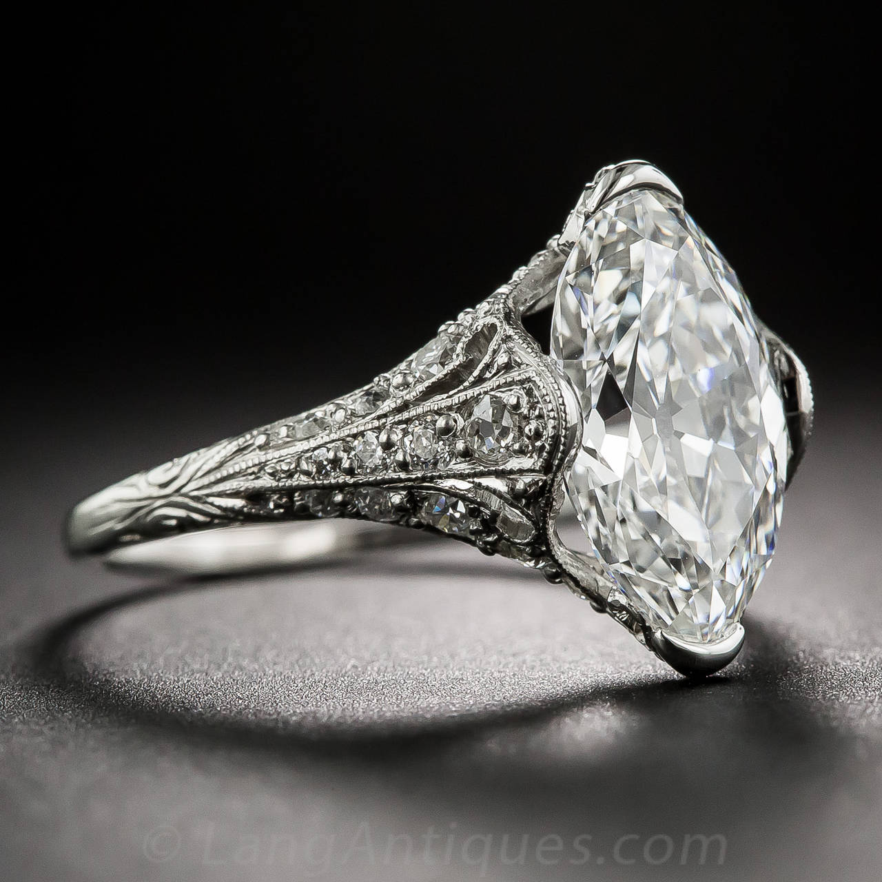 Art Deco Tiffany & Co. Edwardian 3.14 Carat Marquise Diamond Platinum Ring For Sale