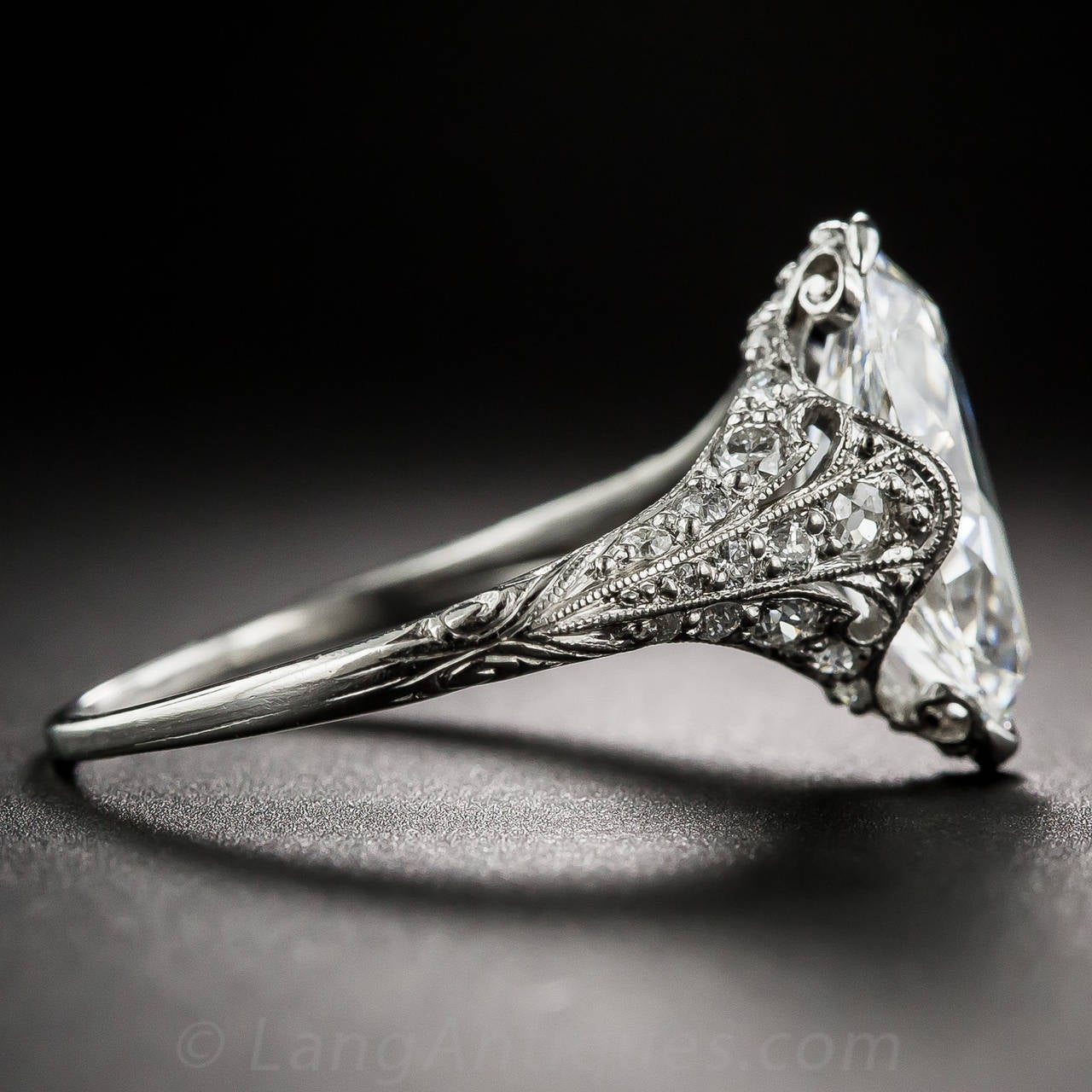 Tiffany & Co. Edwardian 3.14 Carat Marquise Diamond Platinum Ring In Excellent Condition For Sale In San Francisco, CA