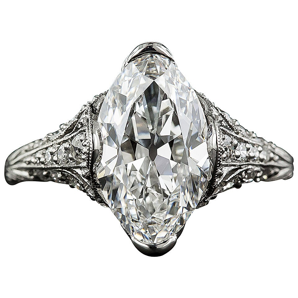 Tiffany & Co. Edwardian 3.14 Carat Marquise Diamond Platinum Ring 1