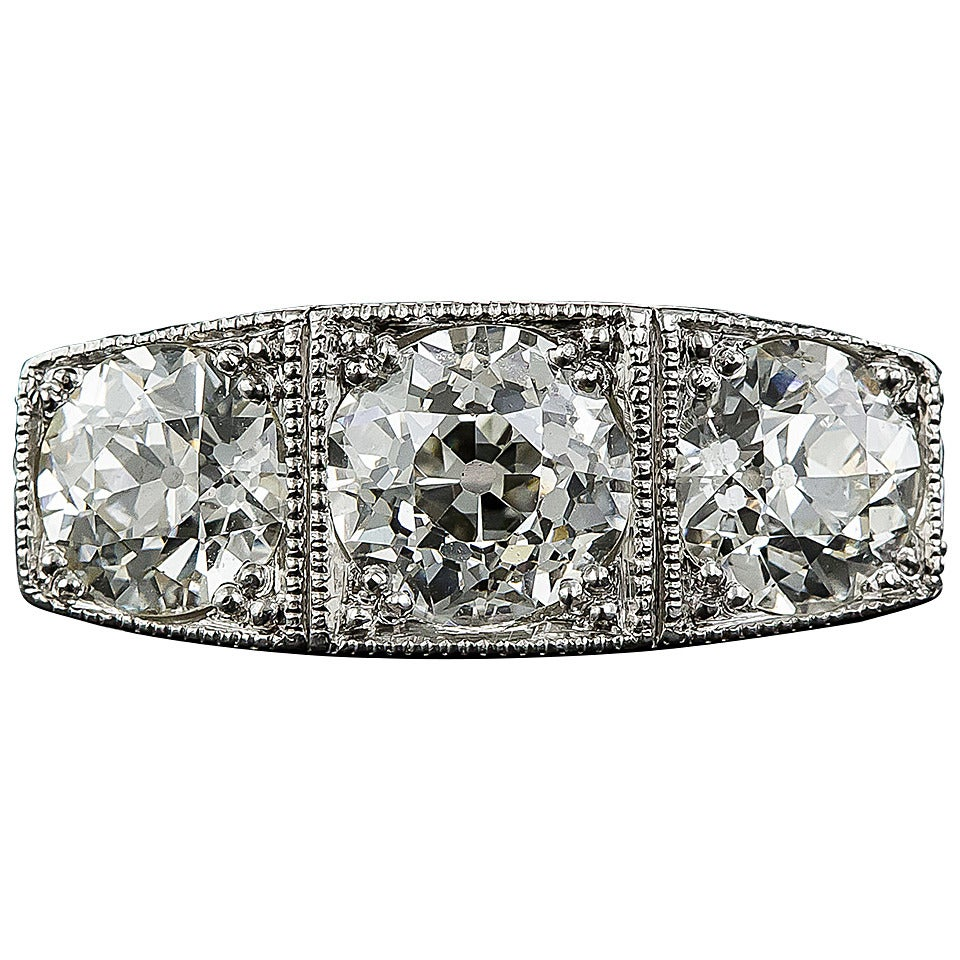 Platinum Three-Stone Art Deco Diamond Ring