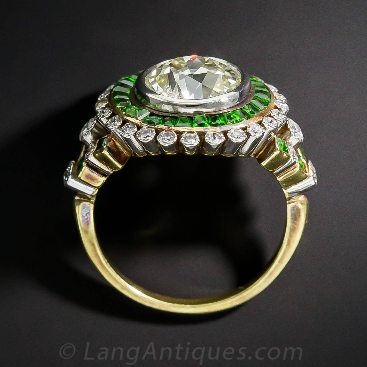 2 33 Carat European Cut Diamond Ring With Demantoid