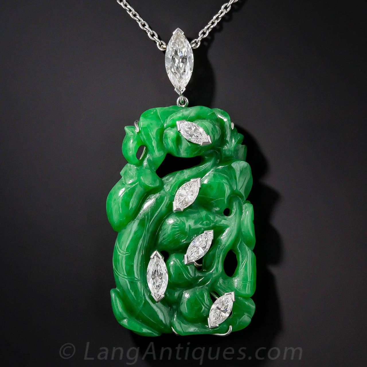 Fine Carved Natural Jade Diamond Platinum Pendant Necklace