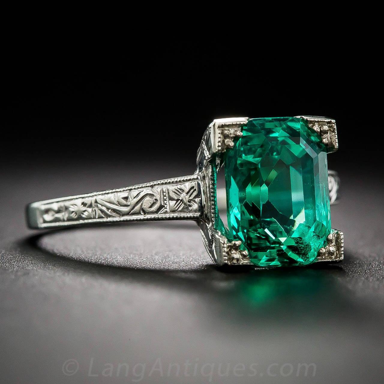 Art Deco 2 44 Carat Natural No Enhancement Emerald Ring At