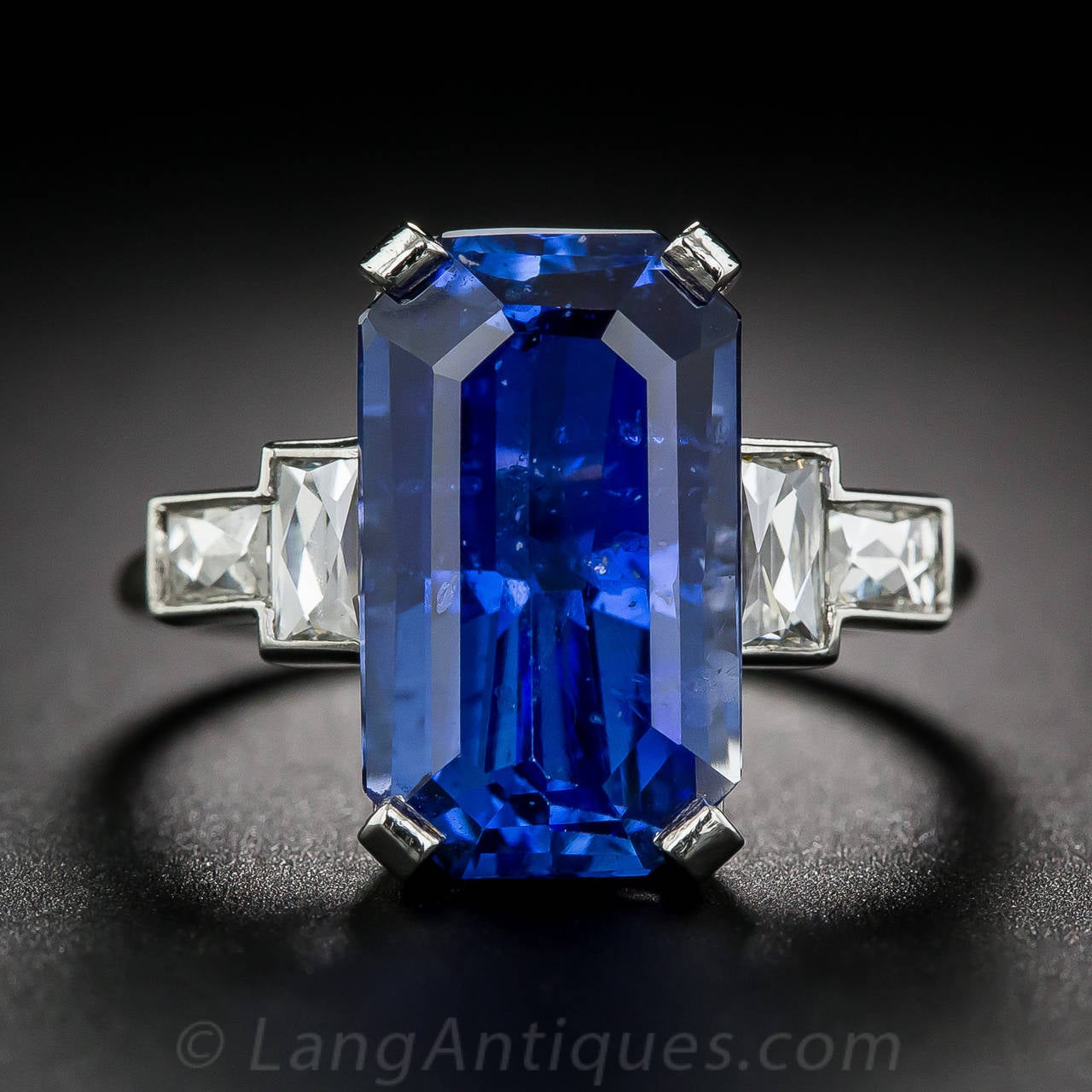 8 77 Carat Emerald Cut Sapphire Diamond Platinum Ring At