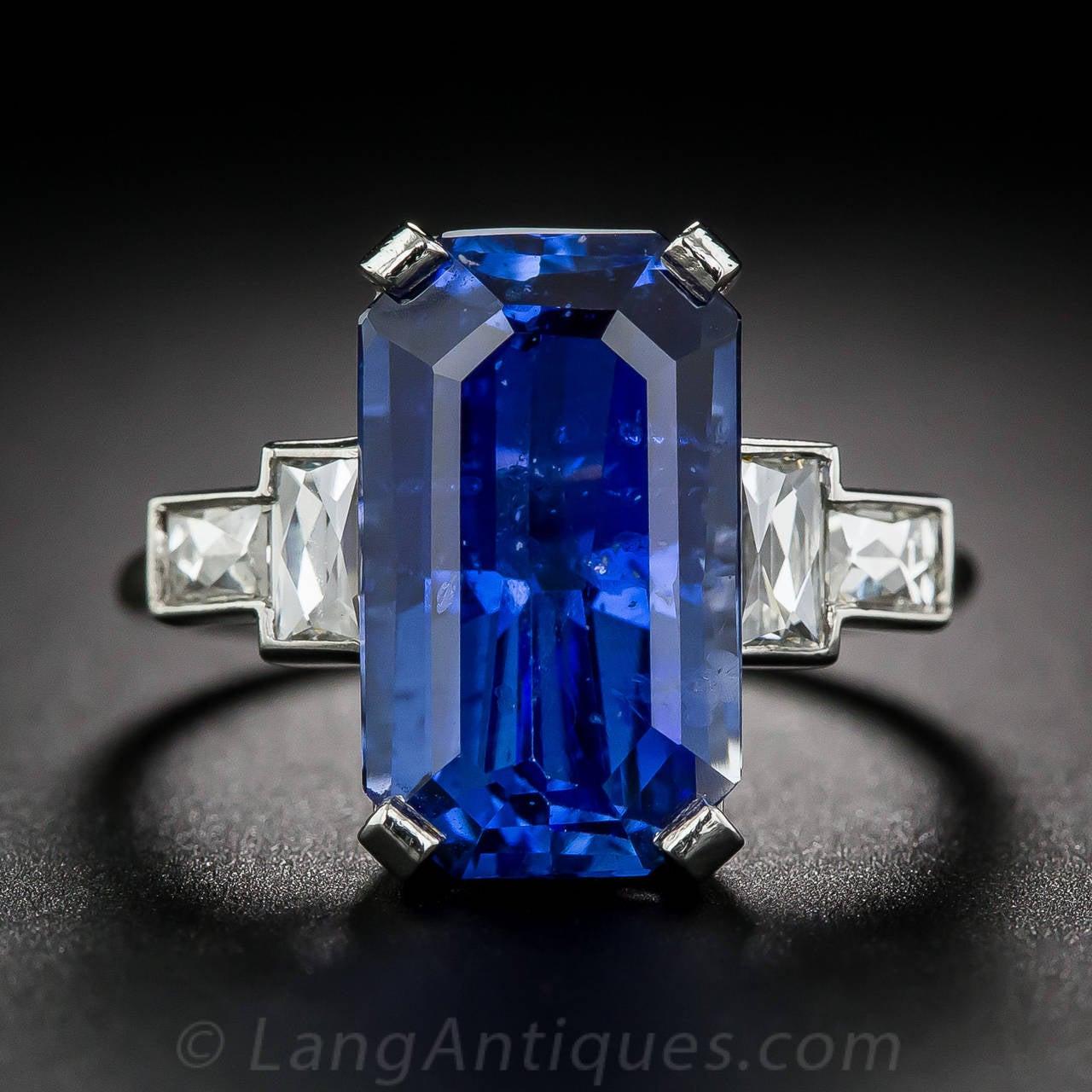 877 Carat Emeraldcut Sapphire Diamond Platinum Ring 2
