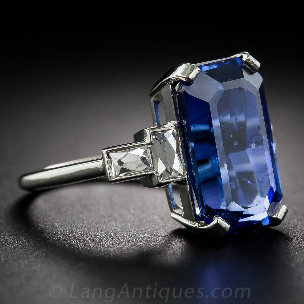 877 Carat Emeraldcut Sapphire Diamond Platinum Ring 3