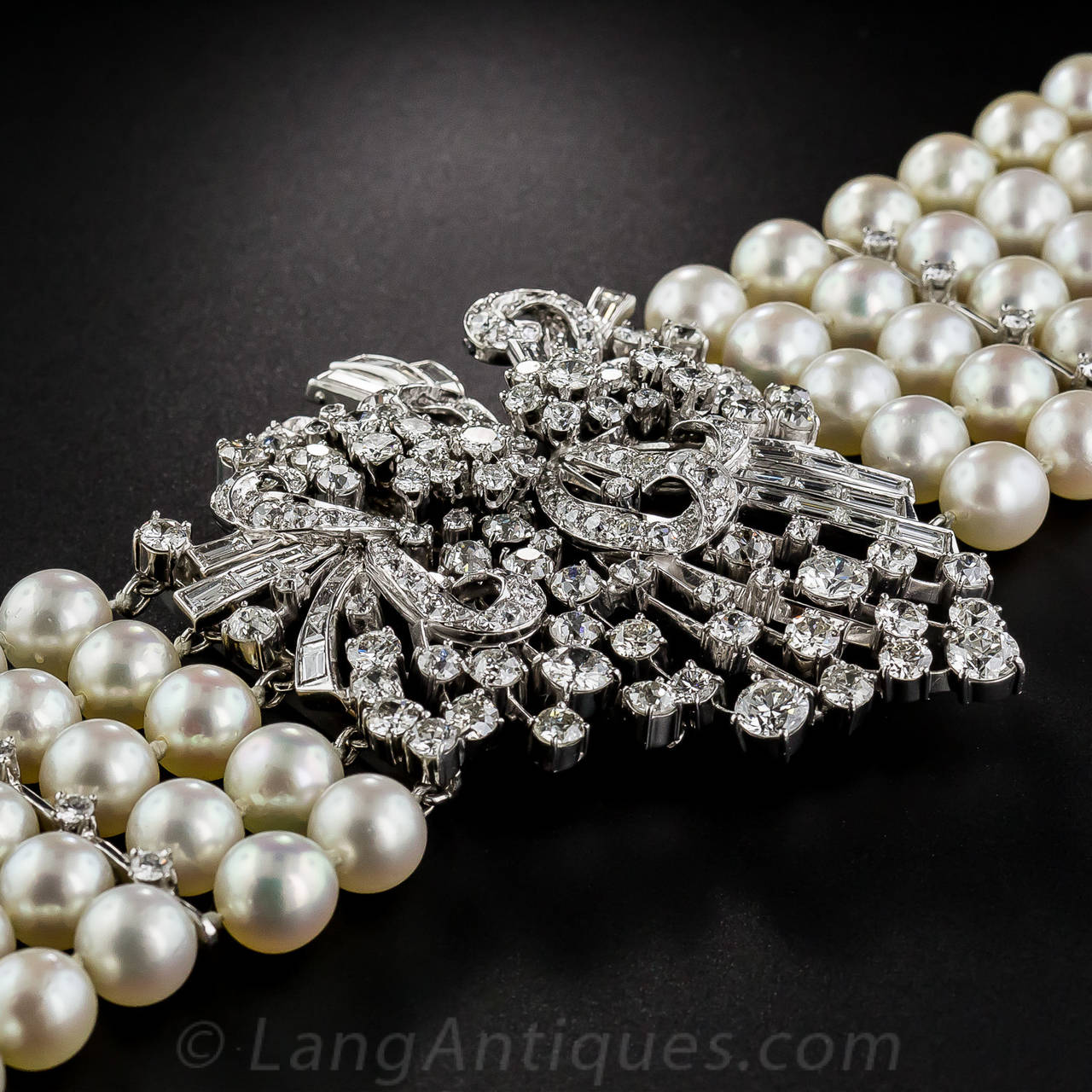 Pearl Platinum: Mid-Century Cultured Pearl Diamond Platinum Bracelet For