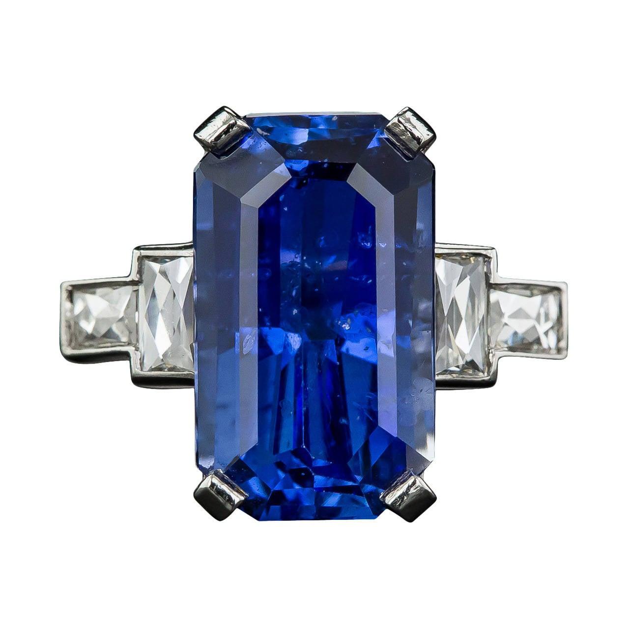 877 Carat Emeraldcut Sapphire Diamond Platinum Ring 1