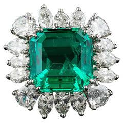 9.06 Carat Emerald Diamond Platinum Ring