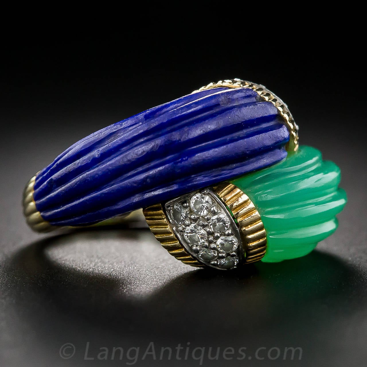 Chrysoprase Lapis Diamond Gold Bypass Ring In Excellent Condition For Sale In San Francisco, CA