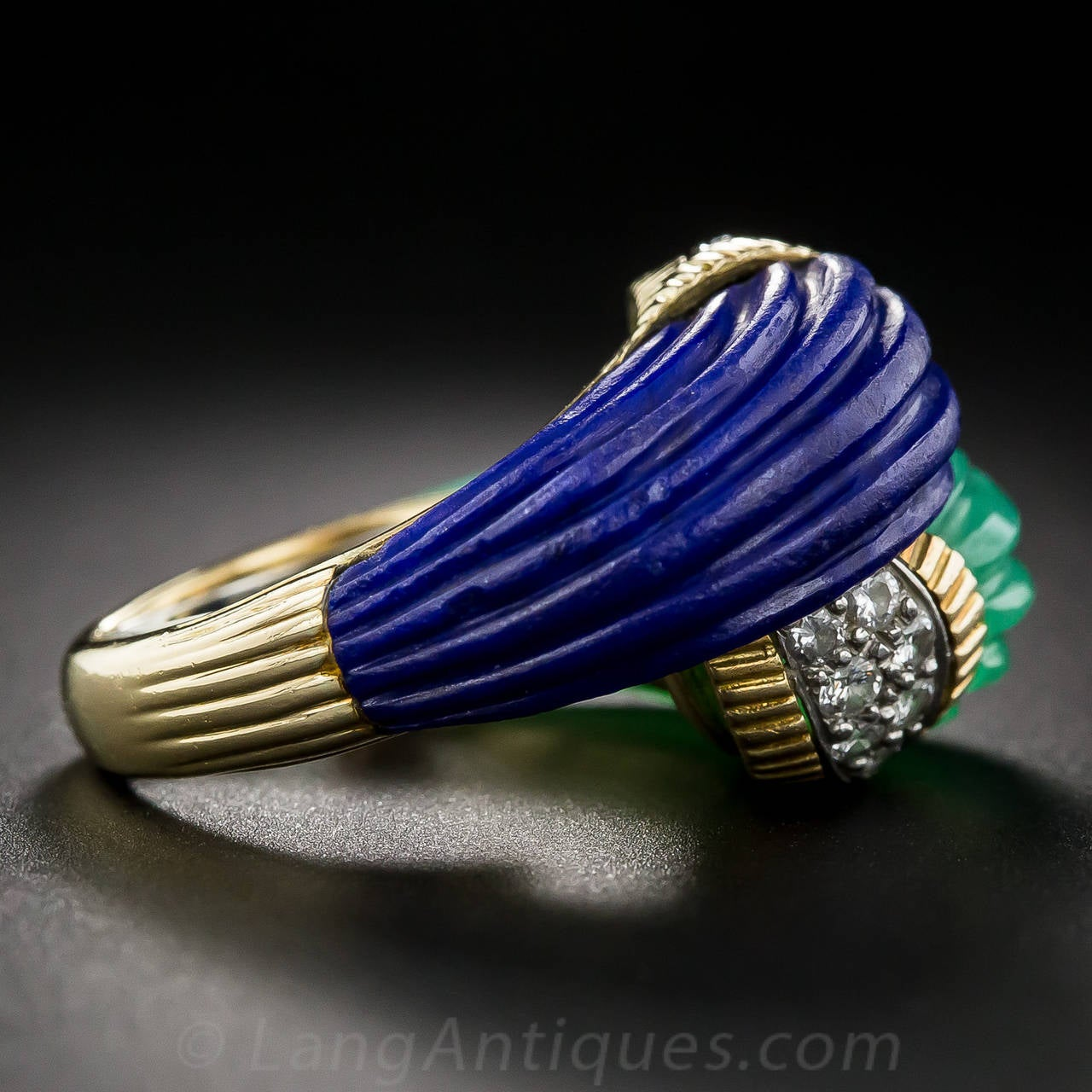 Women's Chrysoprase Lapis Diamond Gold Bypass Ring For Sale