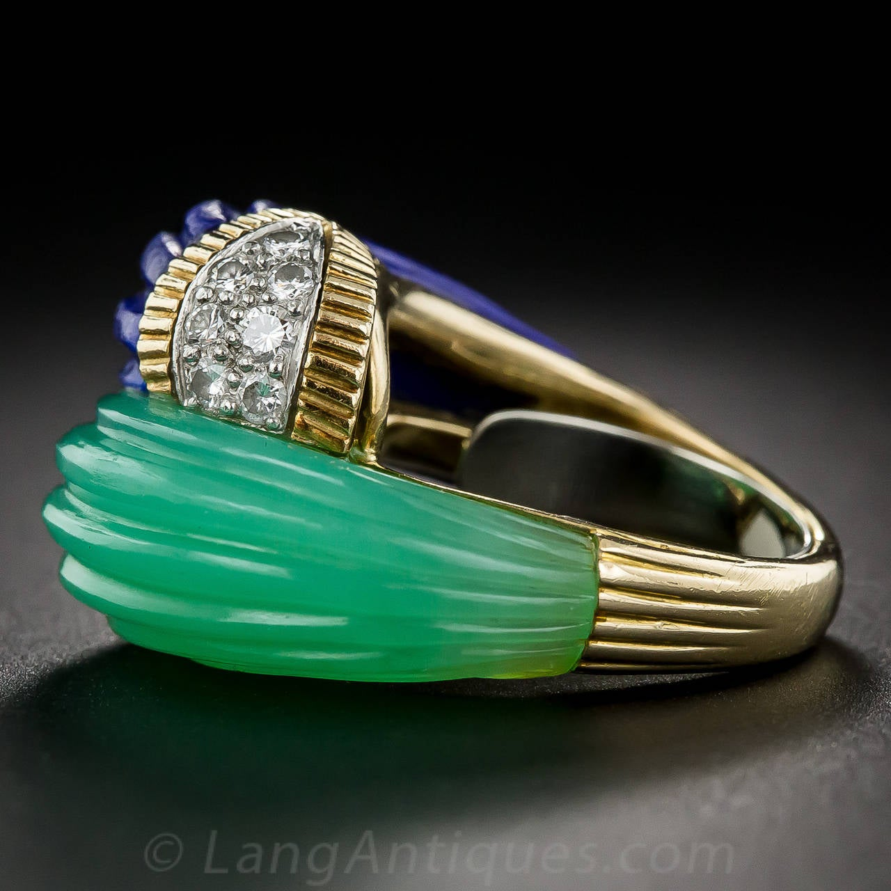 Chrysoprase Lapis Diamond Gold Bypass Ring For Sale 3