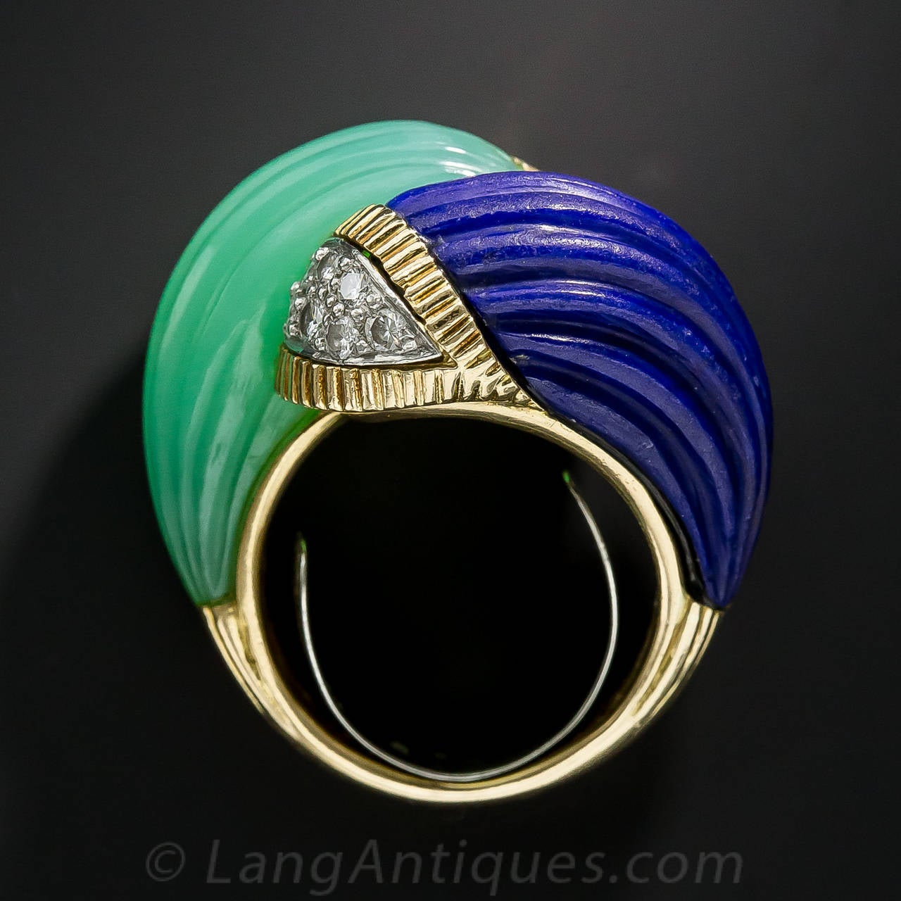 Chrysoprase Lapis Diamond Gold Bypass Ring For Sale 4