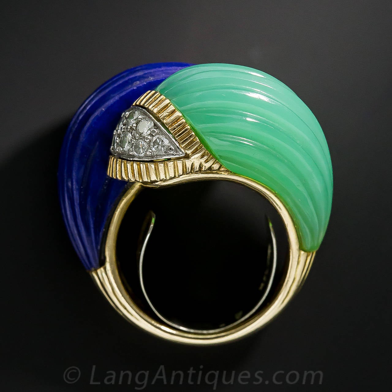 Chrysoprase Lapis Diamond Gold Bypass Ring For Sale 5