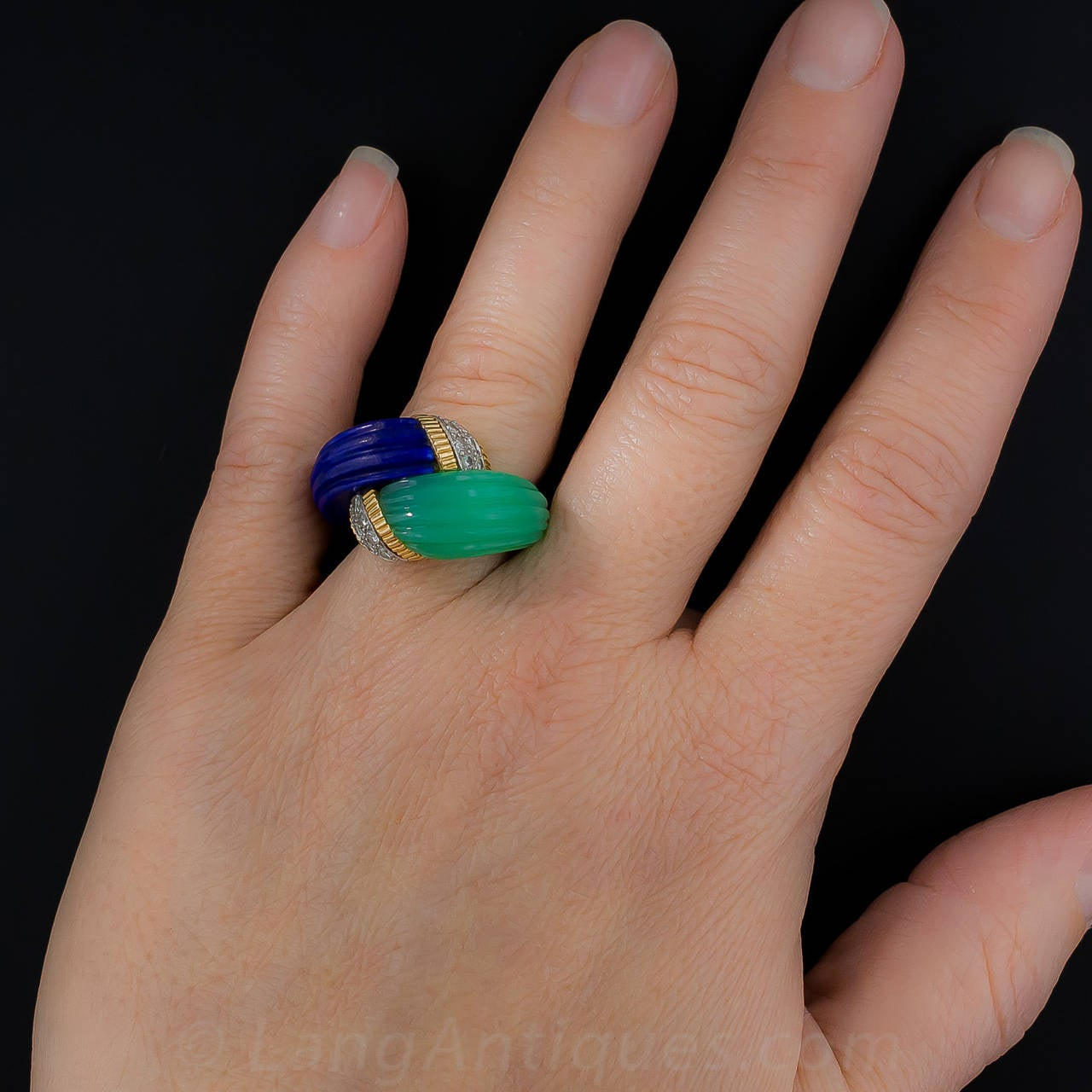 Chrysoprase Lapis Diamond Gold Bypass Ring For Sale 6
