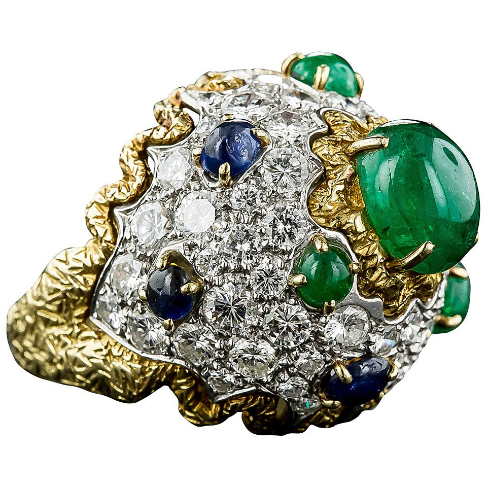 1960s sapphire emerald bombe ring at 1stdibs