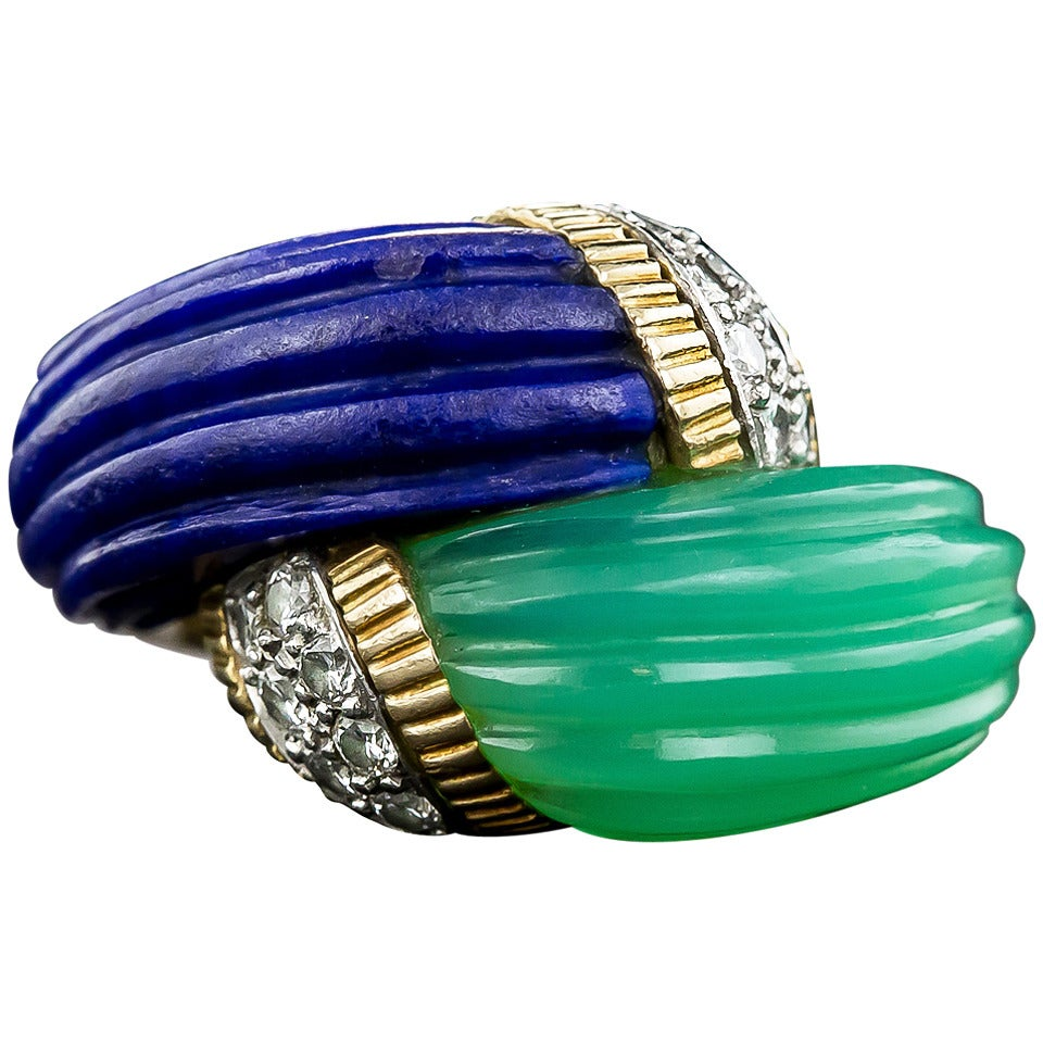 Chrysoprase Lapis Diamond Gold Bypass Ring For Sale