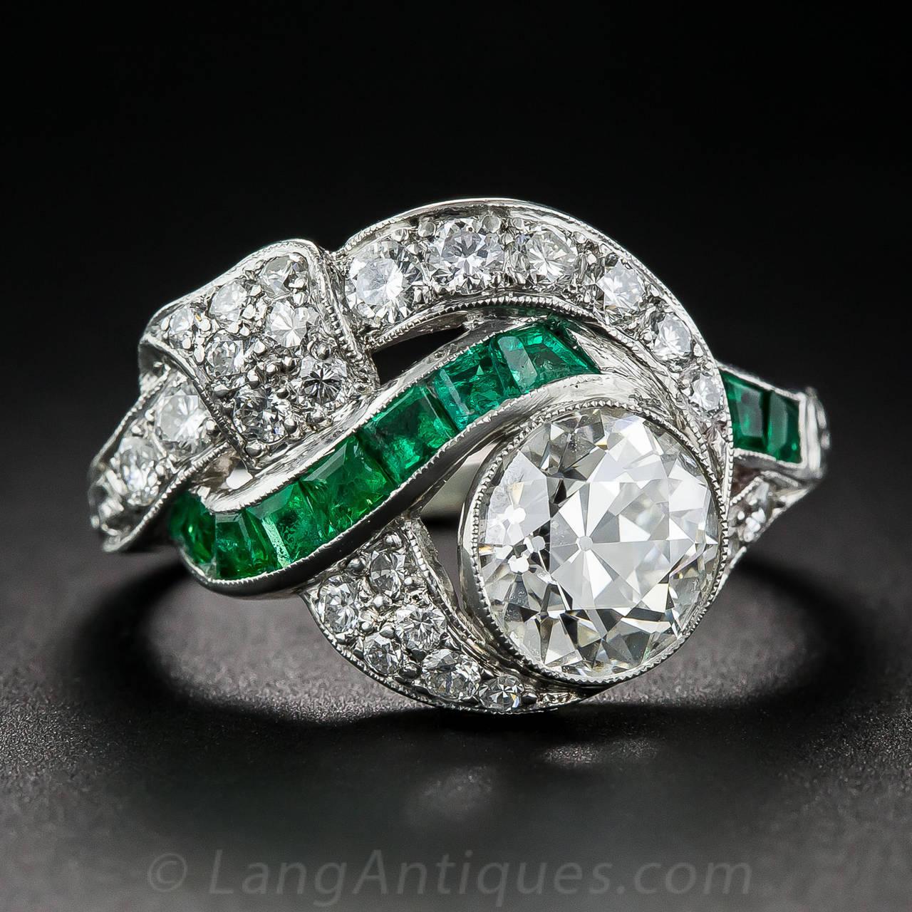 Art Deco 1.97 Carat Center Diamond and Emerald Ring 2
