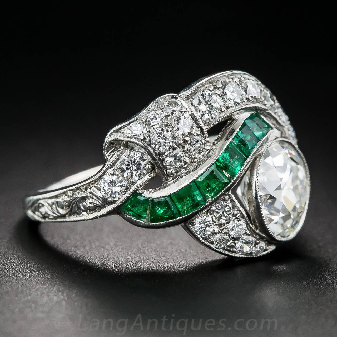 Art Deco 1.97 Carat Center Diamond and Emerald Ring 3