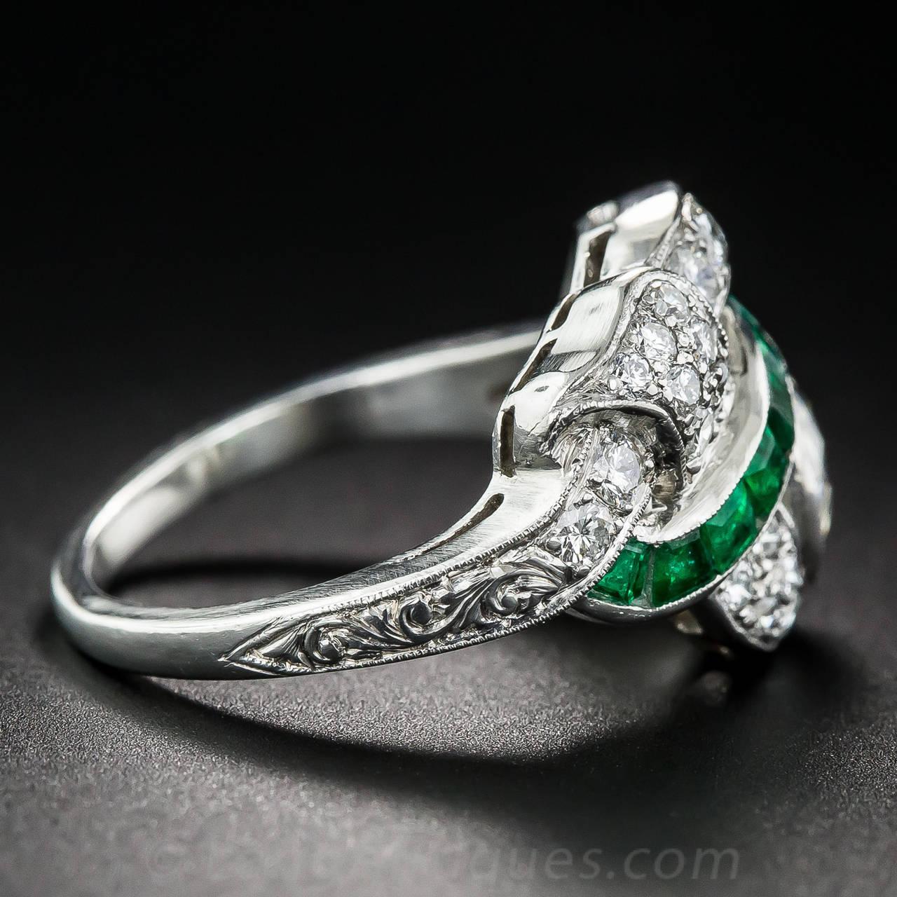 Art Deco 1.97 Carat Center Diamond and Emerald Ring 4