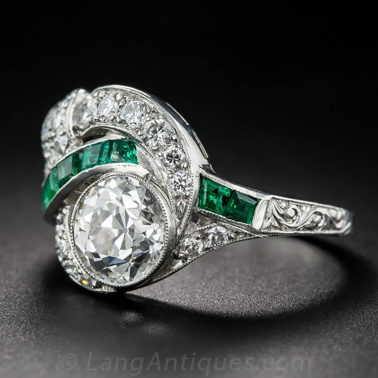 Art Deco 1.97 Carat Center Diamond and Emerald Ring 5