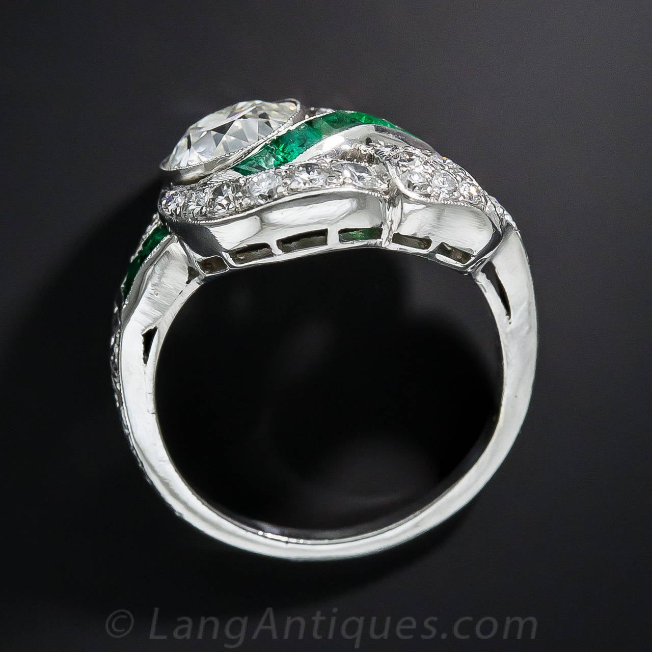 deco 1 97 carat center and emerald ring for