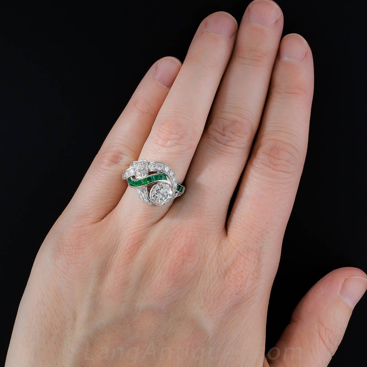 Art Deco 1.97 Carat Center Diamond and Emerald Ring 7