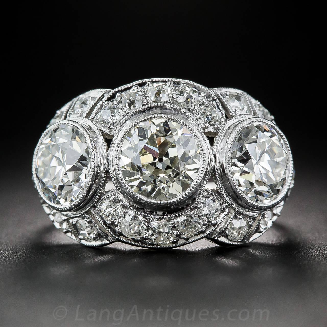 Art Deco 3 65 Carat Diamond Platinum Three Stone Ring For
