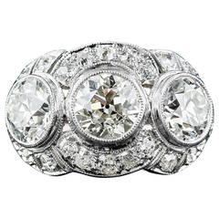 Art Deco 3.65 Carat Diamond Platinum Three-Stone Ring