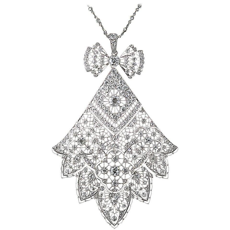 Antique French Belle Epoque 6.75 Carat Diamond Necklace For Sale