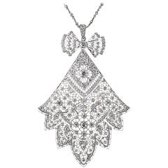 Antique French Belle Epoque 6.75 Carat Diamond Necklace