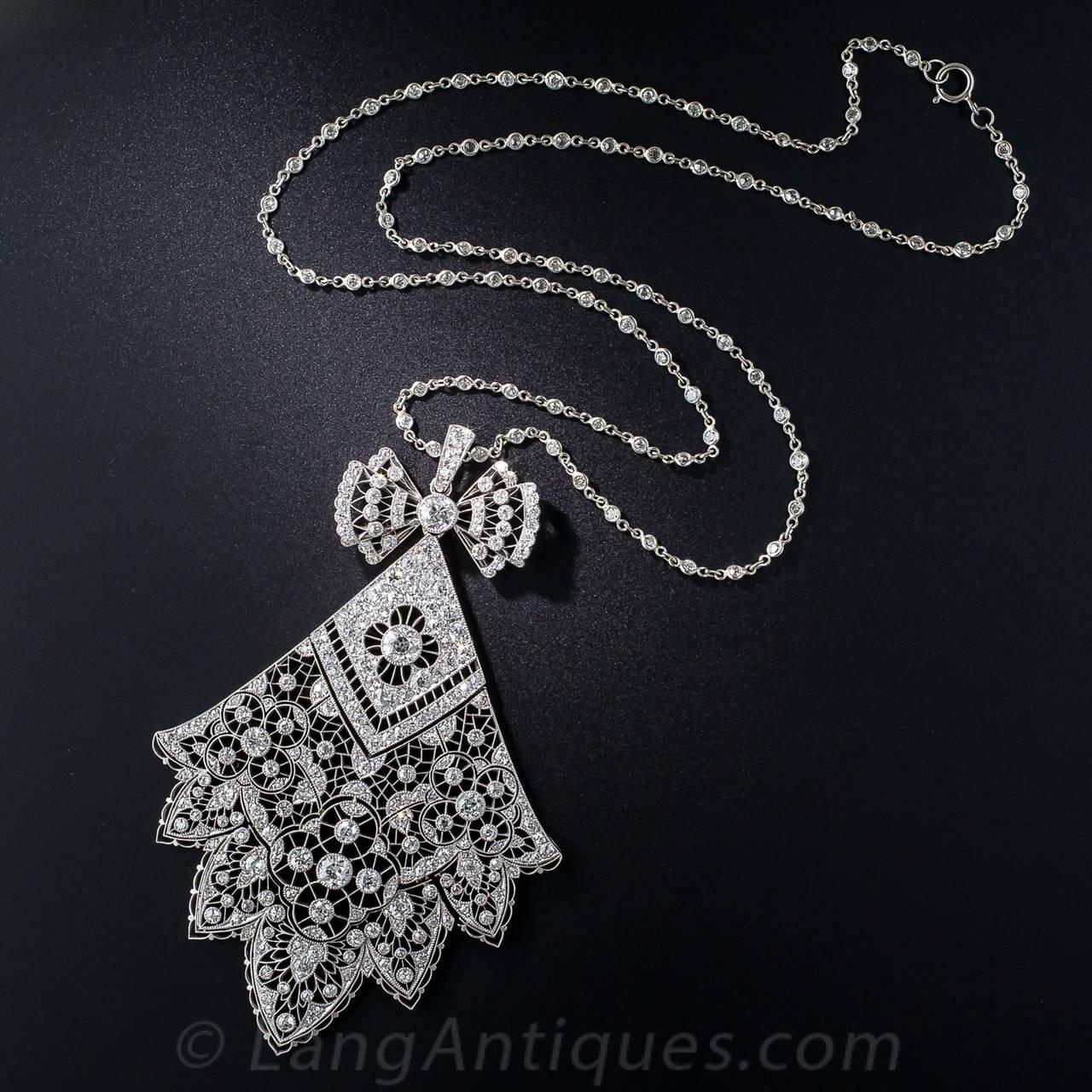 Belle Époque Antique French Belle Epoque 6.75 Carat Diamond Necklace For Sale