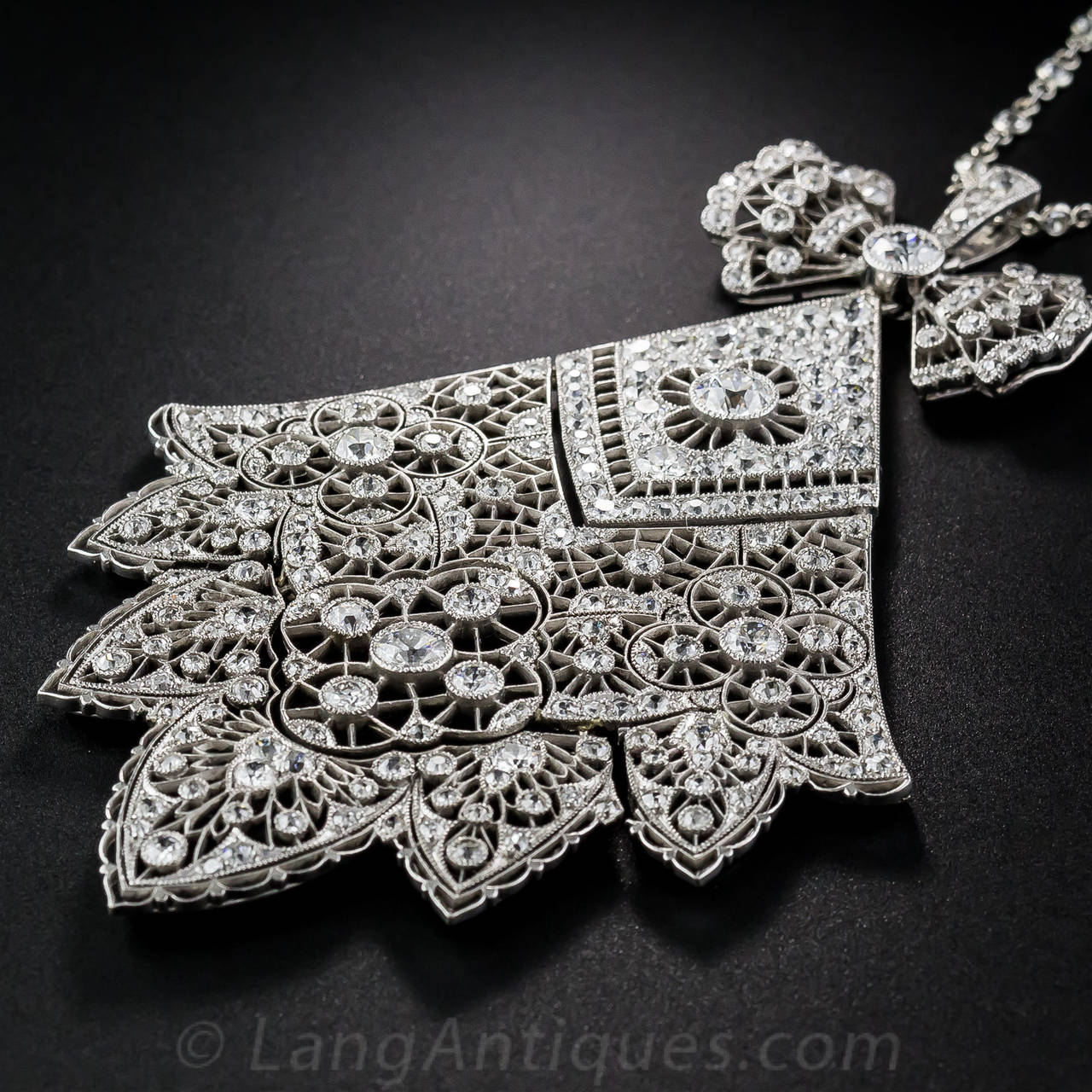 Antique French Belle Epoque 6.75 Carat Diamond Necklace In Excellent Condition For Sale In San Francisco, CA