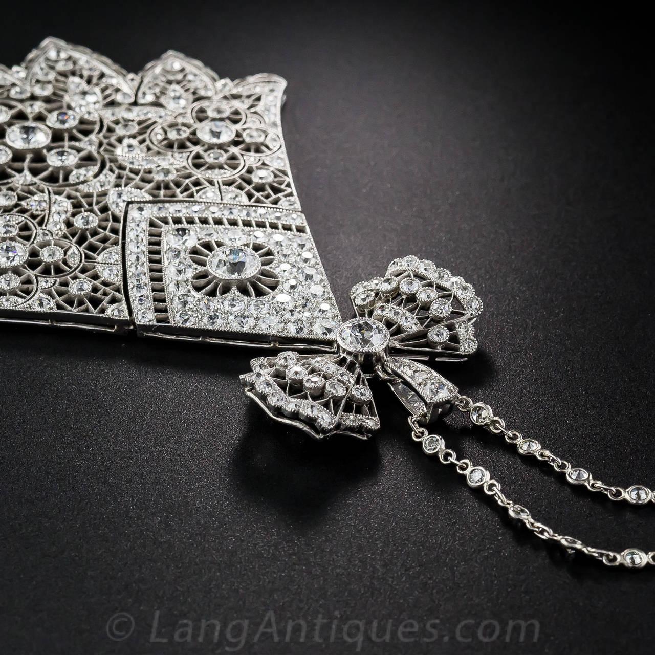 Women's or Men's Antique French Belle Epoque 6.75 Carat Diamond Necklace For Sale