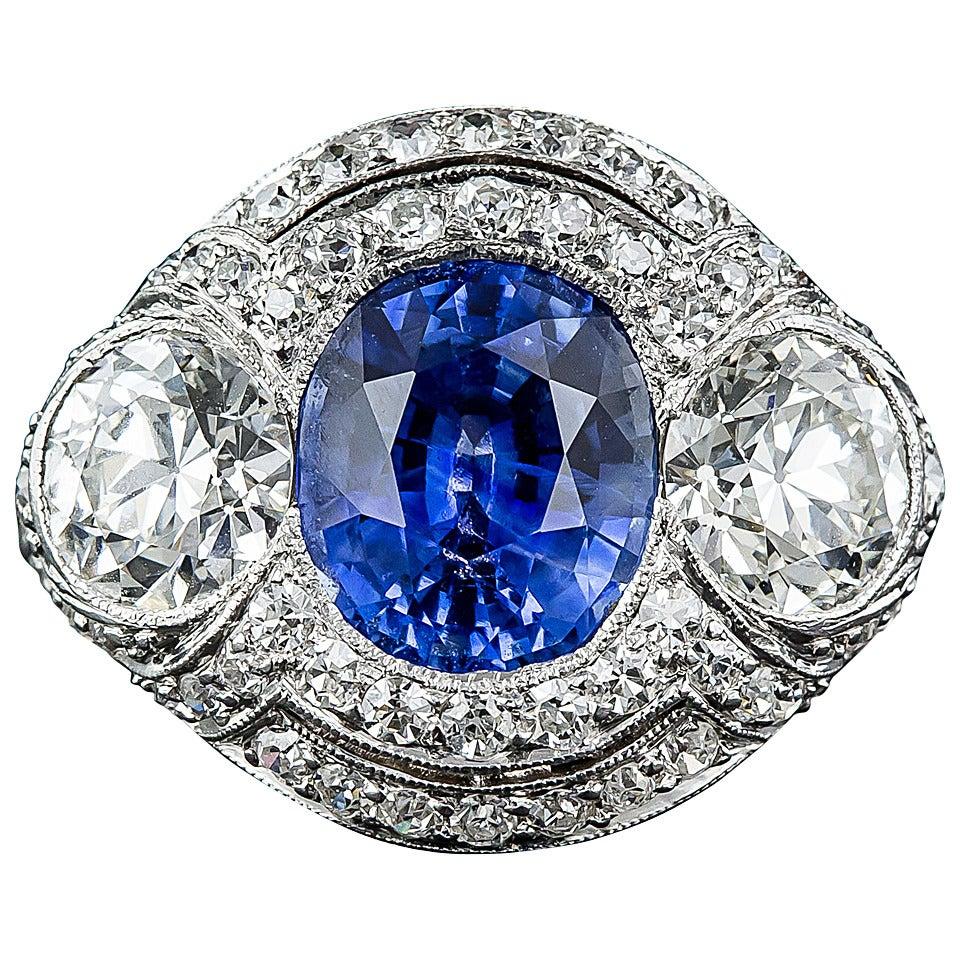 3.46 Carat No-Heat Sapphire and Diamond Art Deco Ring