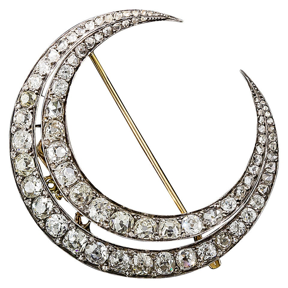 Large French Antique Diamond Crescent Brooch For Sale