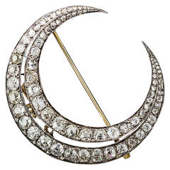 Large French Antique Diamond Crescent Brooch