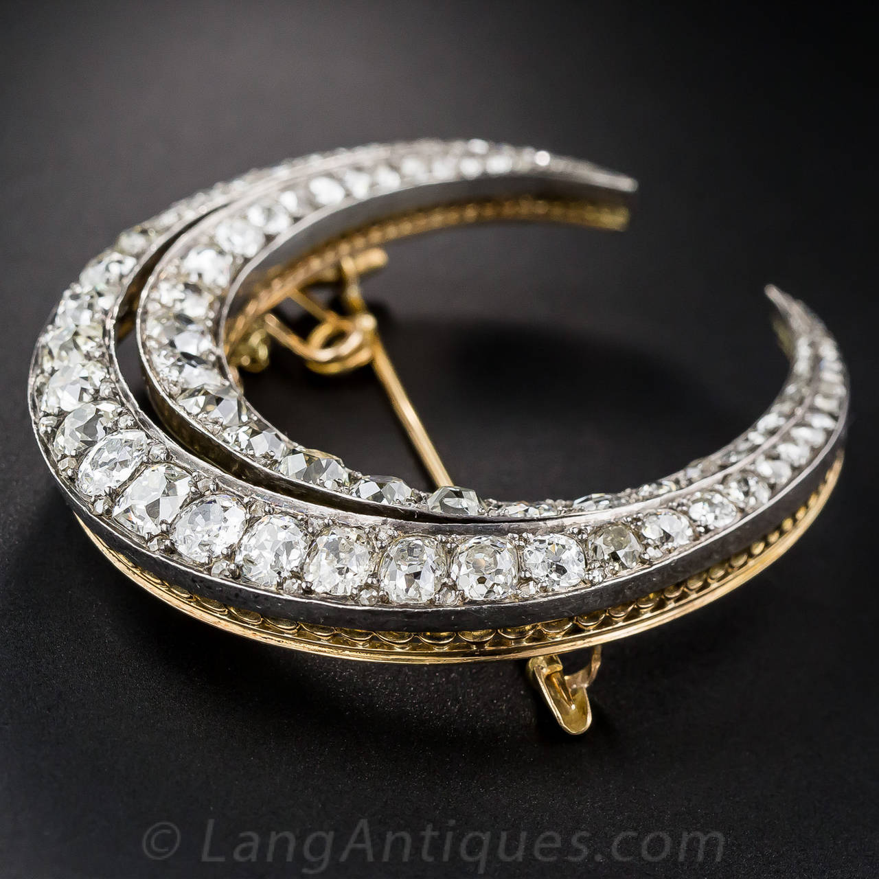 Large French Antique Diamond Crescent Brooch In Excellent Condition For Sale In San Francisco, CA