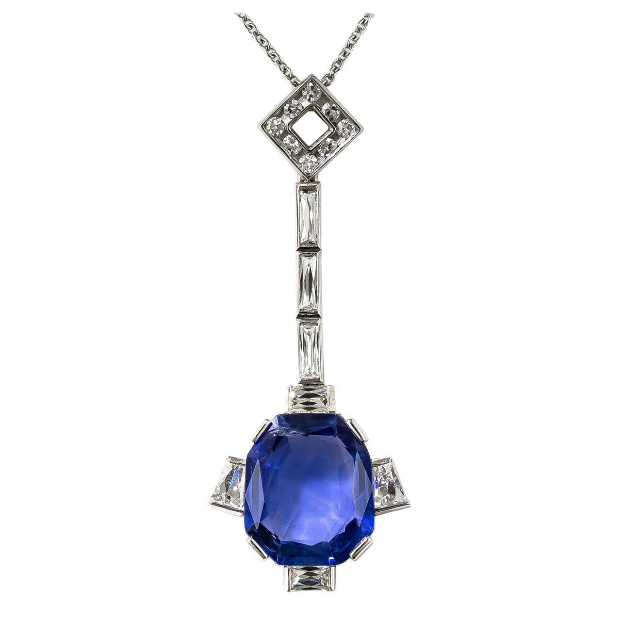 5.50 Carat Natural No-Heat Burma Sapphire & Diamond Pendant 1