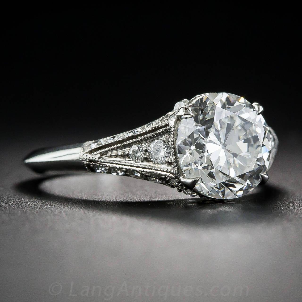 2 40 Carat Diamond Platinum Edwardian Style Engagement