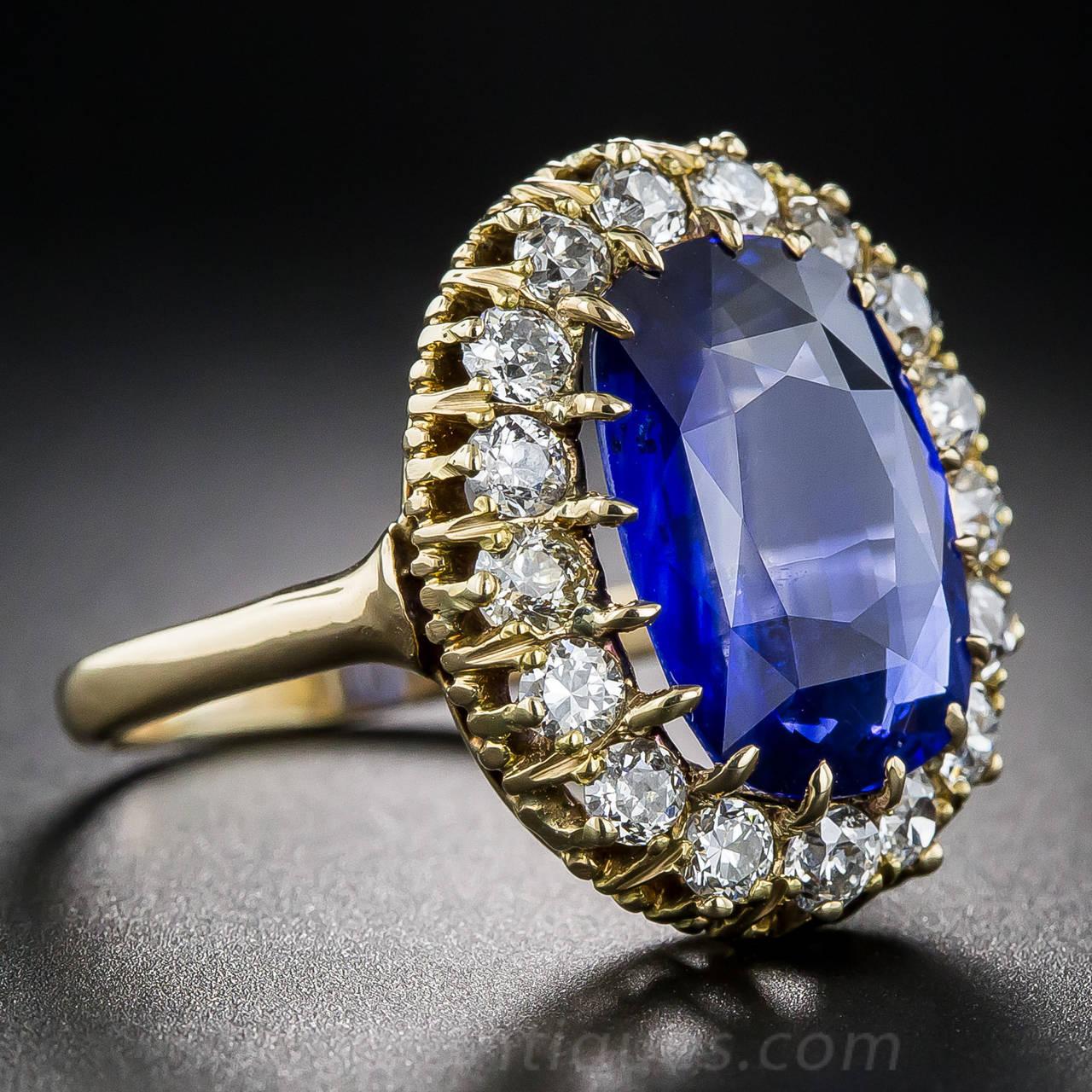 768 Carat Sapphire Diamond Antique Cluster Ring 3