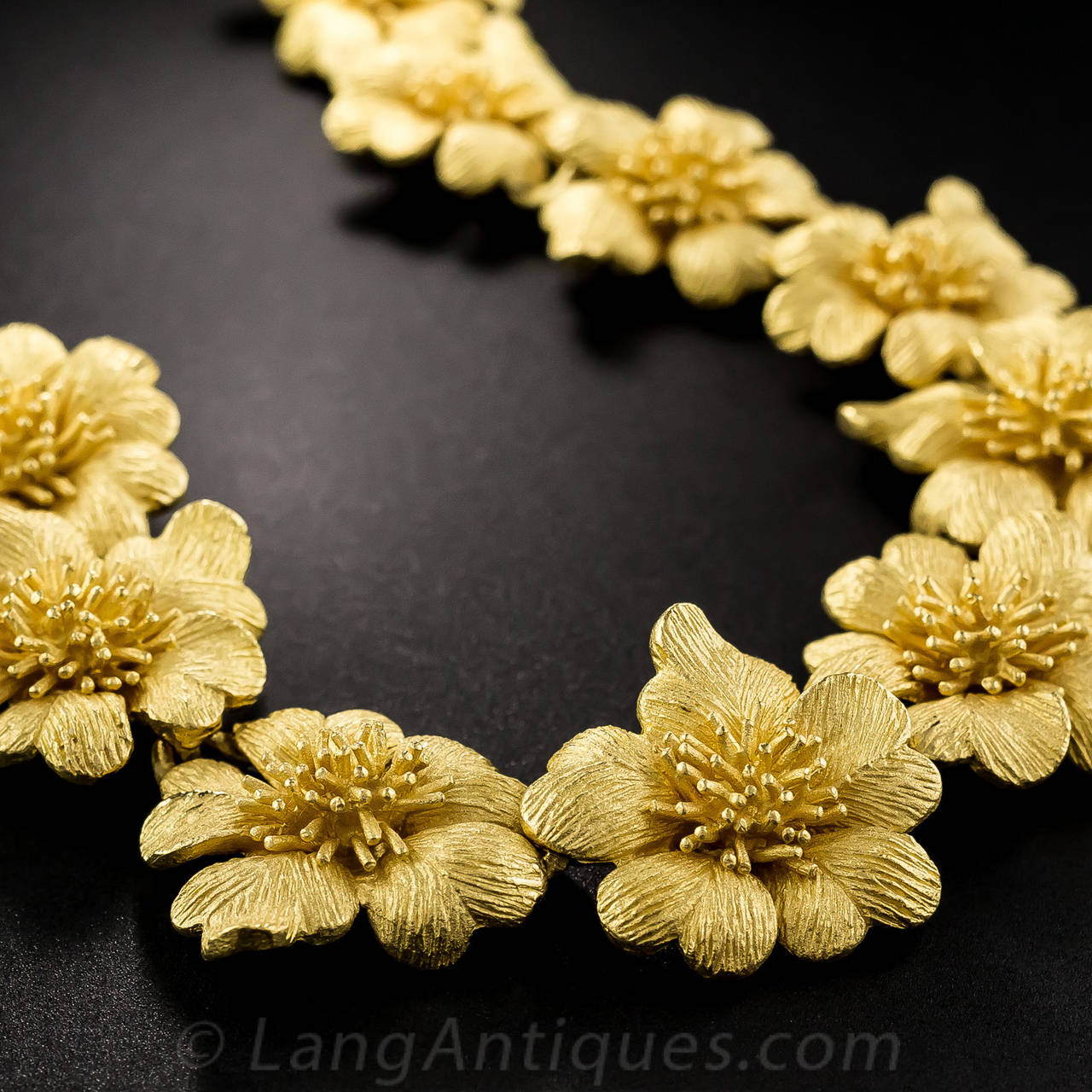 Goldmaster Pure Gold Flower Necklace at 1stdibs