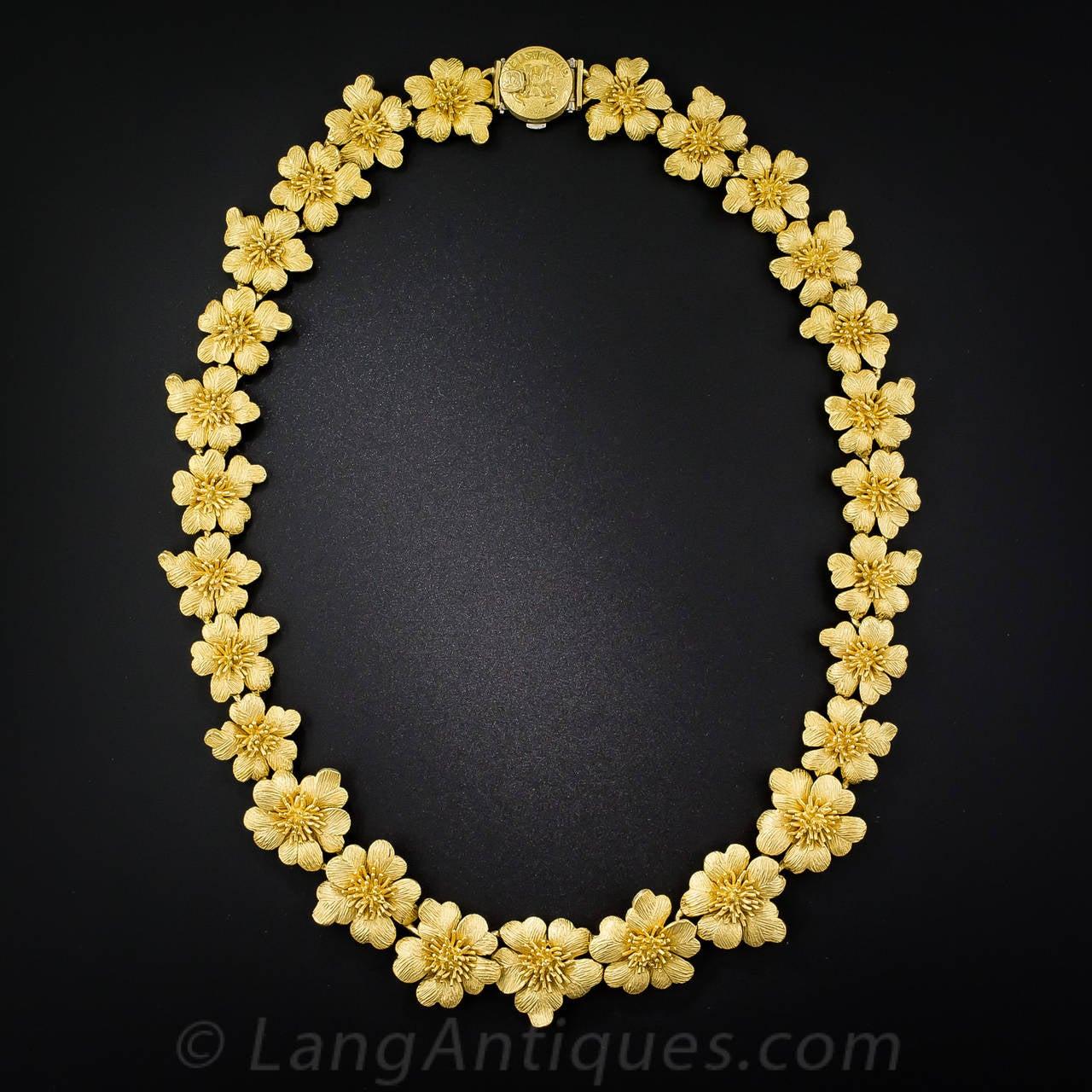 goldmaster gold flower necklace at 1stdibs