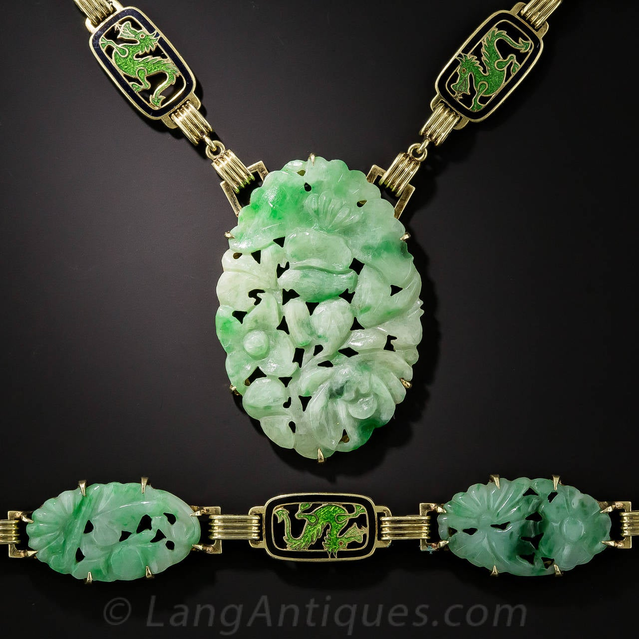 Art deco carved natural jade enamel gold necklace and for Pictures of jade jewelry
