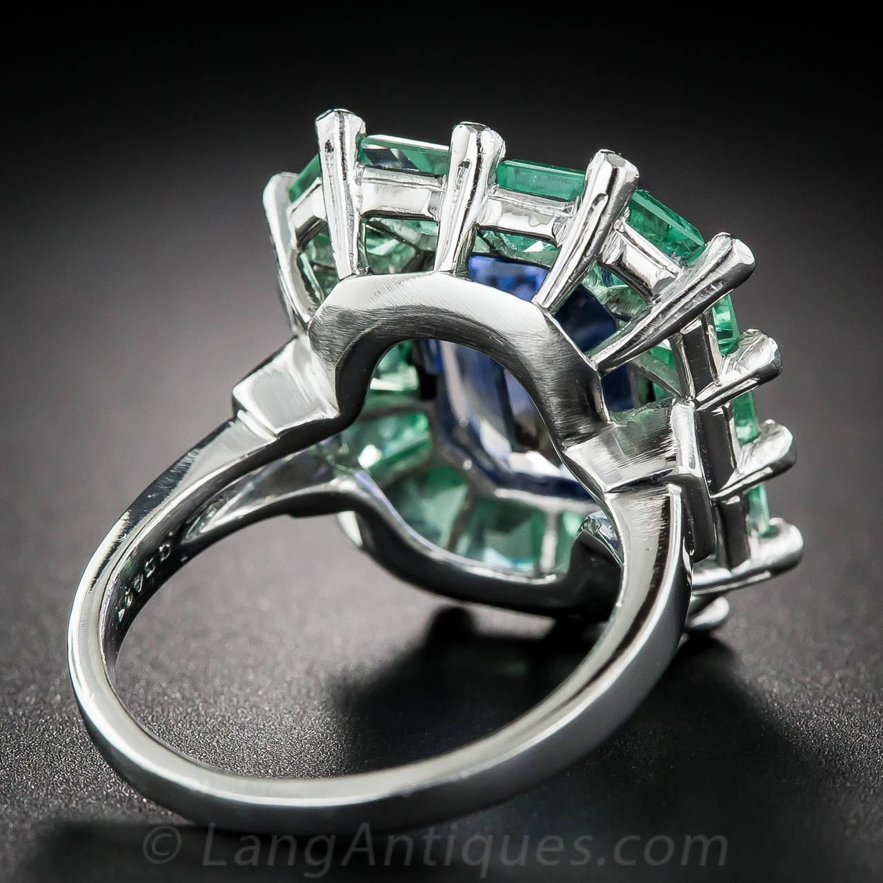5.68 Natural No-Heat Sapphire Green Beryl Platinum Cocktail Ring 5