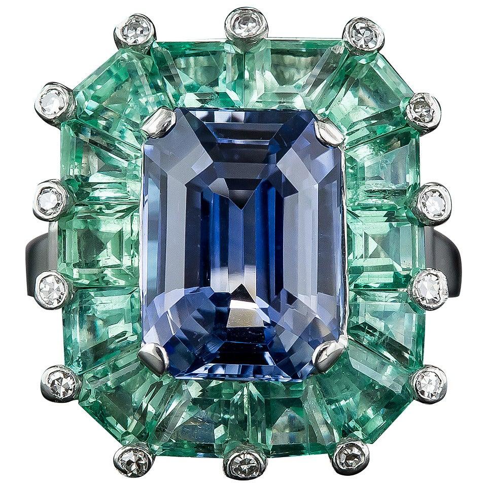 5.68 Natural No-Heat Sapphire Green Beryl Platinum Cocktail Ring 1